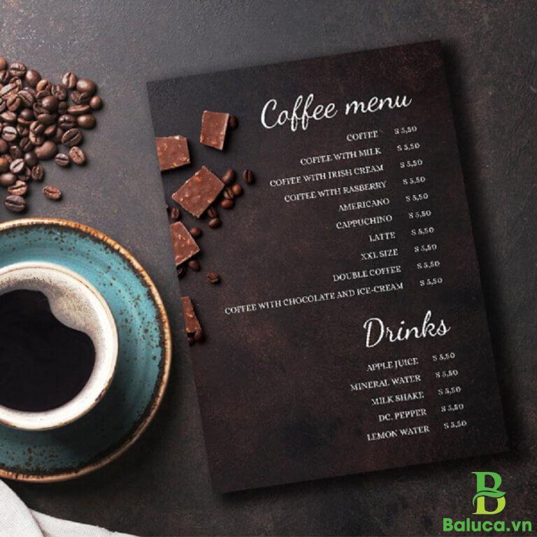 setup menu quán cafe
